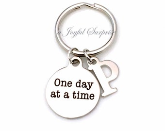 Recovering Addict Key Chain, One Day at a Time Gift for Sponsor Gift, Alcoholics Anonymous KeyChain AA Keyring with Initial letter custom NA