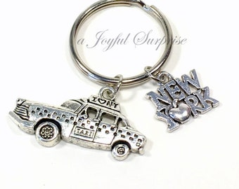 New York Taxi KeyChain, I love NYC Key chain, I heart Travel Keyring Vehicle Jewelry Yorker Gift Theme Party Favor Purse charm planner man