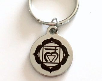 Muladhara Root Chakra Key Chain, First 1st Kundalini Gift for Chinese Medicine Healer Present KeyChain keyring survival center yoga charm