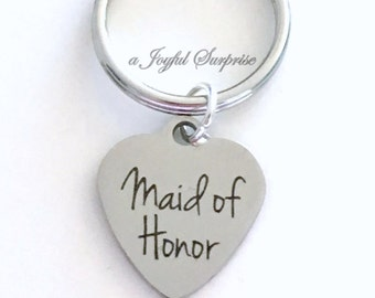 Maid of Honor Key Chain, Gift for Maid of Honor Keyring Matron of Honour Keychain Wedding Party purse charm Luggage tag Bridal Party Present