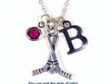 Hockey Necklace, Hockey Stick Jewelry, Gift for Player Silver Charm initial birthstone Birthday Present Christmas Boy Girl Mom Team Girl Dad