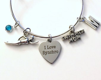 Syncro Mom Jewelry, Synchronized Swimmer's Bracelet, I love Swimming Swim Charm Bangle Silver initial Gift for Mother  birthstone Birthday