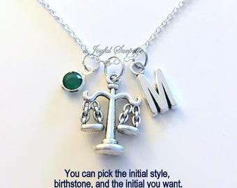 Libra Necklace Zodiac Jewelry, Law Assistant Gift for Legal Secretary charm Personalize Custom Initial Birthstone birthday Christmas present