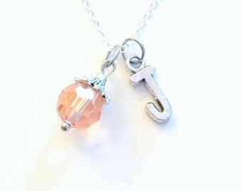 June Necklace, Birthstone Alexandrite Jewelry, Birthday Present Pink Gem Gift Crystal Initial Christmas Bridesmaid Bridal 10mm charm Light