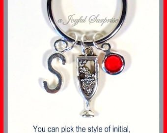 Wine Glass KeyChain, Champagne Keyring, Bubbly Gift for Mom Key chain initial birthstone Personalized Celebration Present 21st Birthday her
