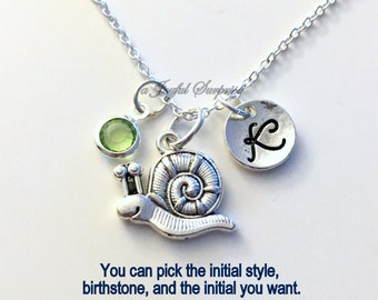 Snail Necklace, Escargot Jewelry, Gift for Animal lover Silver charm Initial Birthstone Birthday present Short Long Chain pewter Little Girl