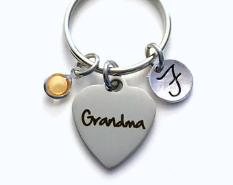 Gift for Grandma Keychain, Grandmother Key Chain, Mimi Keyring, Birthday Present, New Birthstone Initial Personalized Customized her women