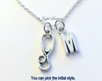 Gift for Man Nurse Necklace, Stethoscope Jewelry, LPN RN Silver Charm Medical Gift Thank you present initial monogram letter assistant 201