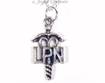 LPN Necklace Nurse's Jewelry, Licensed Practical Nurse, Gift for Nursing student Medical Symbol Emblem Male man Guy Men Woman 925 Silver him