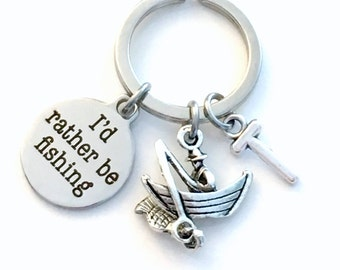 Fathers Day Gift for men, I'd rather be Fishing Keychain, Fisherman Key Chain, Keyring Fish boat Personalized dad present, Daddy Birthday