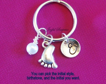 Baby Feet Keychain, New Mom Key Chain, Mommy or Daddy Keyring Expectant Mother Shower Present Little Foot Charm with Initial Birthstone her