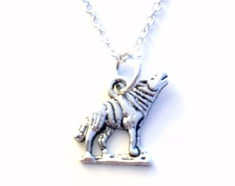 Wolf Jewelry Wolves Necklace Gift for Little Boy Coyote Wild Dog Animal Silver charm present Short Long Chain Sterling Son Grandson Nephew