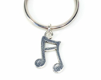 Musical Note Keychain, Music Keyring, Gift for Band Geeks Student, Double Stem Charm, Silver Key Chain Teenage Boy Teen Teenager Girl Men