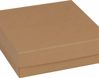 "Gift Box, Add on Note with Present, Jewelry Packaging,Brown Kraft Square for Bracelet, Keychain, Necklace 3 1/2"" 3.5"" White Cotton insert"