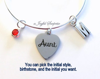 Aunt Charm Bracelet Gift for Aunt Gift from Niece Nephew Auntie Jewelry Bangle Silver Pendant initial Birthstone Birthday Christmas Present