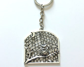 Owl KeyChain, Large Owl in Tree Key Chain, Detailed Bird Animal Keyring Silver Jewelry birthday present Gift for Teenage Girl Teen women