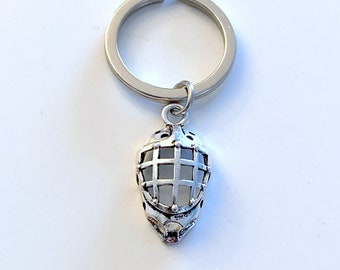 Goalie Helmet Keychain, Face Mask Key Chain Hockey Player Gift, Dad Coach Mom Keyring Lacrosse Rugby Keeper Silver Pewter Charm Him Her team