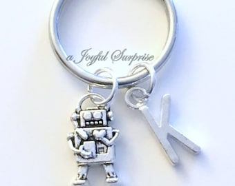 Robot Keychain Robotics Key Chain Robo Alien Keyring Silver Game Club Birthday present Christmas Gift purse charm planner initial Man Boy