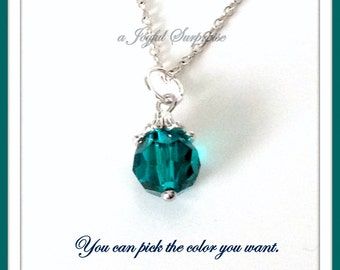 Emerald Birthstone Necklace, You choose the Color, Personalised Jewellery, Birthday Gift, 10mm Faceted Crystal Birthstone Dangle May Jewelry