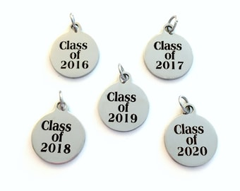 Add a Class of 2019 Year charm, 2017, 2018, 2020, 2021 Date pendant for Keychain, Necklace, or Bracelet personalized date customized Add on