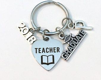 Teacher Graduation Gift, Education Degree Keychain, Gift for Student Grad Keyring EA Key Chain initial letter custom 2015 2016 2017 2018 Man