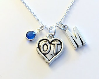 OT Necklace, Occupational Therapist Jewelry, Gift for Occupational Therapy, Symbol heart Charm Birthday Present Christmas Initial Birthstone