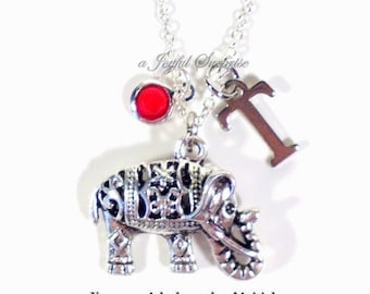 Personalized Elephant Necklace, Elephant Jewelry, Carved Elephant Gift, Tibetan Filigree Charm Pewter Pendant Present initial birthstone 136