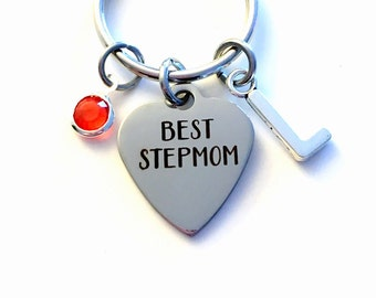 Gift for Step Mom Keychain, Best Step Mother Key Chain from Daughter Son Stepmom Keyring Personalized Initial Birthstone birthday present