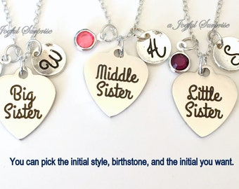 Sisters Necklace Set of 2, 3, 4, or 5 Silver Jewelry, Big, Middle, Little, or Baby Sister Gift for Birthday Charm Birthstone Initial present