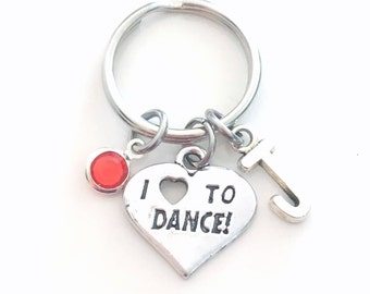 I love to dance Key chain, Gift for Dancer Keychain Jazz Keyring, Tap Step Lyrical Contemporary Jewelry Letter initial teen girl boy her him