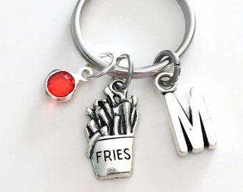 French Fry KeyChain Fast Food Keyring Fries Key chain Junk Jewelry charm Initial Birthstone birthday present Christmas Gift Restaurant Girl