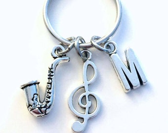 Saxophone Keychain, Saxophonist Key chain, Gift for Jazz Musician Keyring, Sax Present Treble Clef initial Music Charms Band Man Men him her