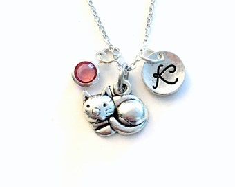 Cat Necklace, Kitty Jewelry, 10 Different Styles of Cats, Personalized Custom, with initial letter birthstone, Silver Charm Teenage Girl Boy