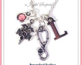 Personalized RN Stethoscope Necklace, Gift for RN Nurse Jewelry, Registered Nurse Present, Initial Birthstone Canadian Seller Shop Woman 203
