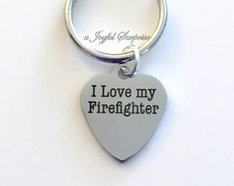 Gift for Fireman's Wife Keyring Key chain Gift for Fire Fighter's Dad I love my Firefighter KeyChain birthday present Christmas purse charm