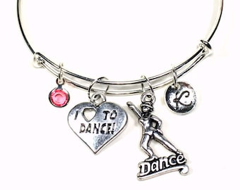 Tap Dance Bangle Bracelet, I Love to Dance Charm Jewelry, Dancer Gift, Silver Adjustable Personalized Custom Initial birthstone Jazz Swing