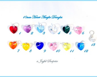 Add on a glass heart shaped colored dangle to any listing, 10mm birthstone crystal glass dangle