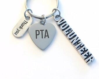 PTA Volunteer Keychain, Thank you Present for Mom Dad KeyChain, Keyring Jewelry Initial color him her men School Parent Teacher Association
