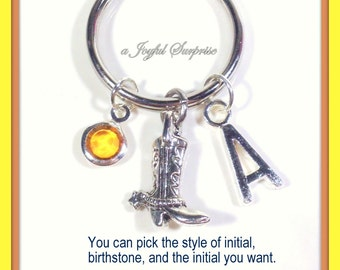 Cowboy boot Keychain, Rancher Keyring, Personalized Cowgirl Key chain Country Girl Gift, Country Music Jewelry initial birthstone her him