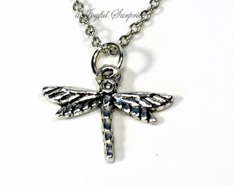 Silver Dragon Fly Necklace, Dragonfly Gift for Teen Girl, Silver Charm Pendant, Insect Bug Flying Teenager Teenage Young Boy Women animal