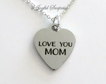 Love You Mom Necklace, Everyday Jewelry for Mom, Simple Mother Jewelry, Gift for Mother's Day Gift, Birthday present Charm Pendant from son