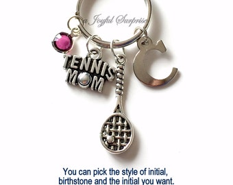 Tennis Mom KeyChain, Silver Tennis Player Keyring Tennis Racket Key Chain Gift For Tennis Mom Jewelry Letter birthstone initial custom purse
