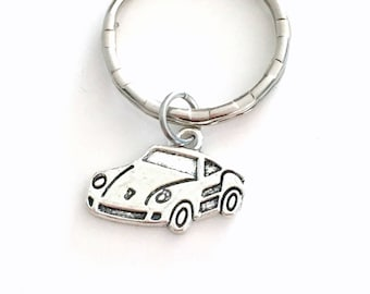 Sports Car Keychain, Car Key Chain, Automobile Keyring, Gift for Salesman Silver Race Car Charm Pewter Pendant Christmas Present men Father