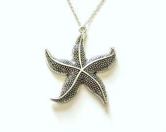 Large Star Fish Necklace, Starfish Statement Jewelry, Silver Charm Beach Pendant Fashion Birthday Gift Present 925 Sterling Chain Filigree