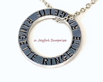 Ringette Circle Necklace, Silver Ringette Jewellry Affirmation Circle, Pewter Ringette Mom Charm, Ringette Gift for Ringette Player Gift