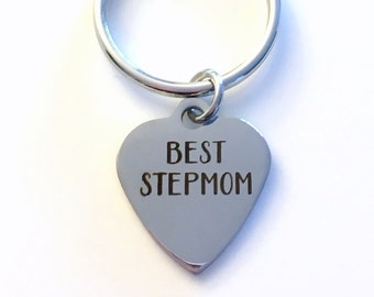 Step Mom Key Chain, Gift for Best Step Mother KeyChain from Daughter Son Stepmom Keyring Initial letter birthday present Children engraved
