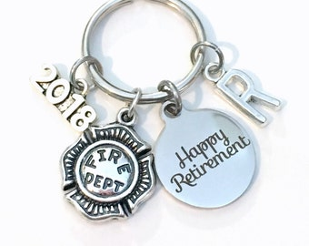 Retirement Gift for Firefighter Keychain 2017 2018 Fireman Firemen Fire Him Her Dad Key chain Keyring Retire Coworker Initial letter men man