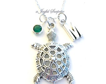 Turtle Necklace, Tortoise Jewelry Gift for Daughter Sea Creature Marine animal Silver charm Birthstone Birthday present sterling chain long