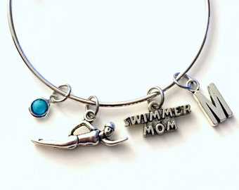 Gift for Swimmer's Mom Jewelry Bracelet, Swimming Swim Charm Bangle Silver initial Gift for Mother Team Mom Synchronized Initial birthstone