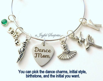 Gift for Dance Mom Bracelet, Dancer's Jewelry, Silver Adjustable Bangle Personalized Birthstone Initial Custom Birthday Present Teenage Girl